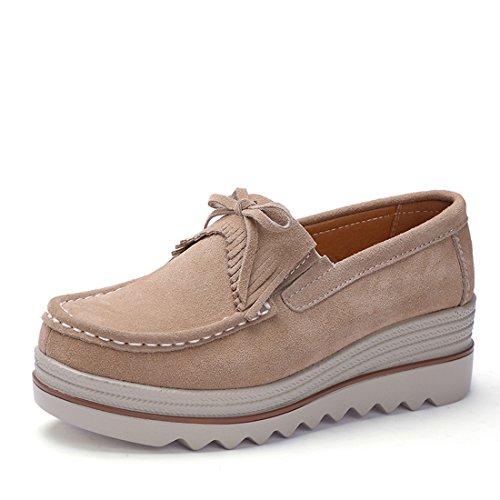 Z.SUO Mujer Mocasines de Cuero Gamuza Moda Loafers Casual Zapatos(40 EU,Color Albaricoque.1)