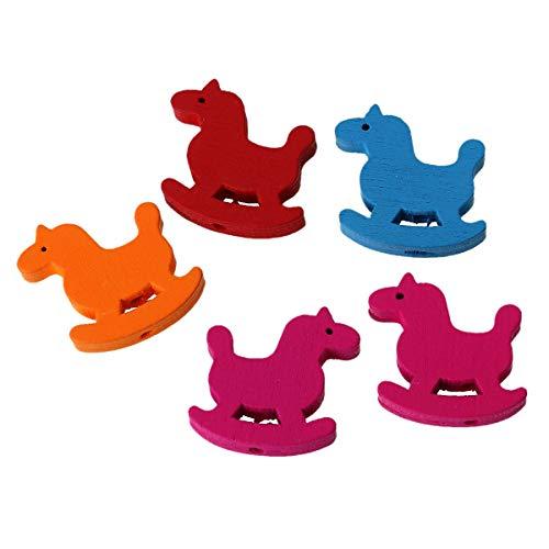 Sadingo houten kralen paard kleurrijk, kralen om te knutselen, lijmen, annhijpen, DIY sieraden, kinderen - 10 stuks - 19 x 18 mm - mix