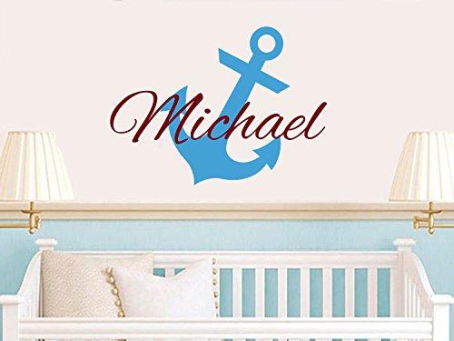 Anchor nom personnalisable en vinyle autocollant mural personnalisé en forme d'ancre de marin pour bébé garçon sous le nom d'intérieurs