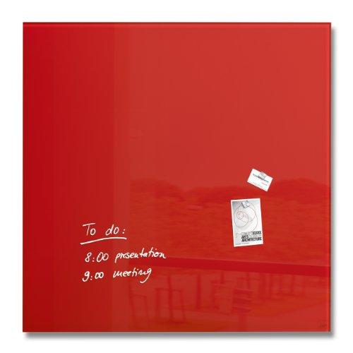 Sigel GL202 - Pizarra de cristal magnética, 100 x 100 cm, rojo