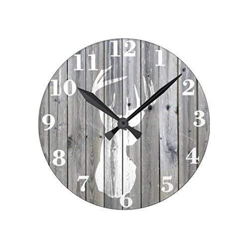 AmyyEden Wanduhren für Wohnzimmer Hipster Vintage Weiß Hirsch Kopf auf grauem Holz Wanduhr Kunst Deko für Kinderzimmer 30,5 cm