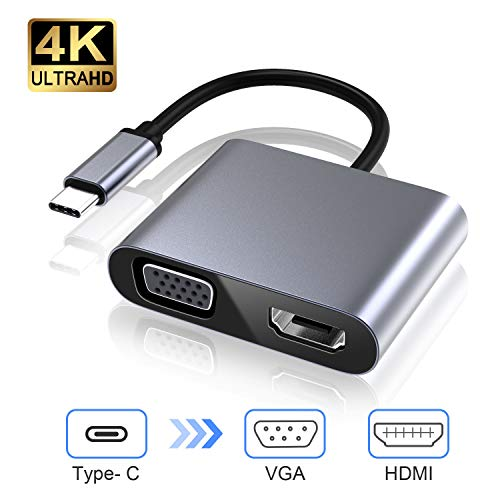 USB C naar VGA HDMI Adapter, USB 3.0 Hub Type C naar VGA HDMI 4K UHD Converter Adapter Compatibel met Laptops, Macbook Pro/Air, Nintendo, Dell HP Spectre, Samsung S8/S9, Huawei Mate 30 en meer 2 in 1