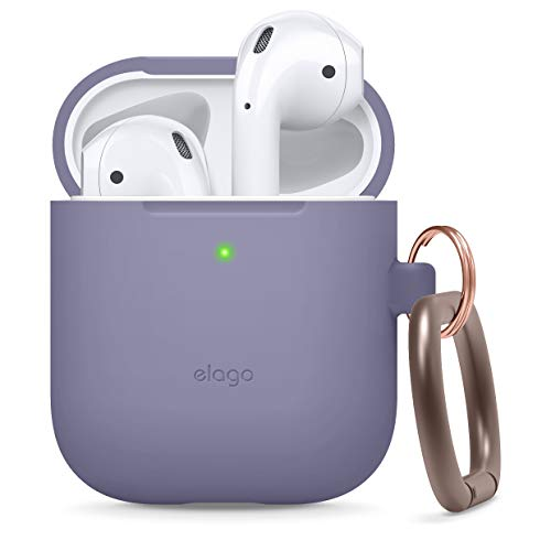 elago Silicone Case with Keychain Compatible with Apple AirPods Case 1 & 2, Front LED Visible, Supports Wireless Charging, Protective Silicone [Lavender Grey]