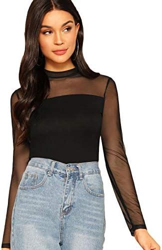 SweatyRocks Women s Elegant Long Sleeve Contrast Sheer Mesh Slim Fit T Shirt Tops Black 1 S product image