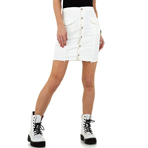 Ital-Design Damen KURZER Jeans Rock Drole de Copine Gr. M Weiß
