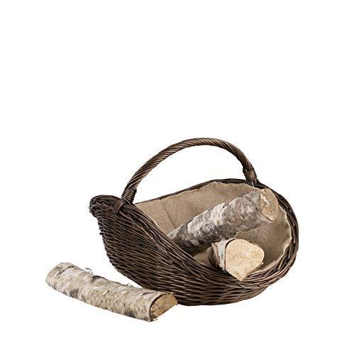 Paniers et Porte-bûches pour cheminées en Osier Gris Brun avec Une Housse en Jute