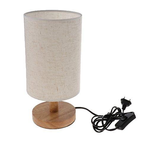 Baoblaze Tischlampe mit Holzfuß und Stoffschirm Nachttischlampe Tischleuchte für Wohnzimmer, Schlafzimmer, Kinderzimmer, Büro, Café(Keine Glühbirne) - Farbe 1