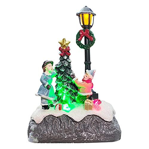 Escena navideña iluminada LED Escena navideña iluminada decoración Pequeñas decoraciones navideñas de Resina 13cm Figura de resina en miniatura Adornos de farola de árbol Navidad Brillante para mesa