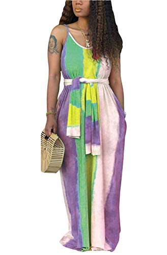 FEIYOUNG Women's Sexy Tunic Scoop Neck Tie Dye Printed Loose Baggy Fit Floor Length Maxi Dresses with Belt and Pockets (Apparel)