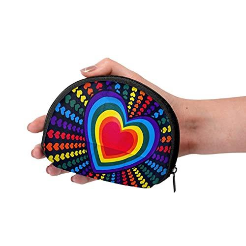 Loving Heart Shaped Lollipop Travel Shell Cosméticos Bolsas de almacenamiento portátiles para mujeres y niñas pequeñas monedero monedero monedero monedero