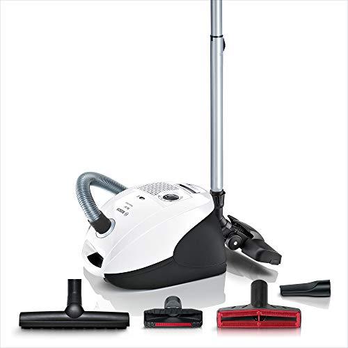 Bosch Staubsauger mit Beutel GL-30 BSGL3A340, Bodenstaubsauger, ideal für Allergiker, Hygiene-Filter, Bodendüse für Parkett, Teppich, Fliesen, Polster-Düse, Fugendüse, 600 W, weiß