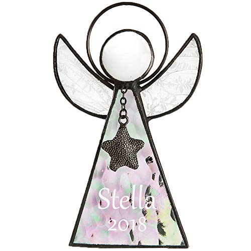 Personalized Angel Ornament Engraved Clear Iridescent Stained Glass Window Sun Catcher Baby's First Christmas Tree Decoration Holiday Decor Memorial Remembrance Sympathy Gift J Devlin ORN 215-1 EO104
