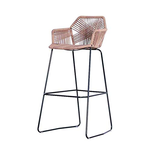 Seat Bar Chairs, Bar Stool, Metal Woven Wicker Chair Kitchen Breakfast Dining Chair Lounge Chair Backrest For Bar Cafe Home, Suit for Kitchen Counters Coffee Shops