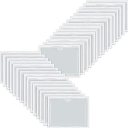 自己粘着名刺ポケット トップオープン 荷物の収納用 カードホルダー カードや写真の整理と保護に クリスタルクリアプラスチック (3.6 x 4.8インチ 30パック)