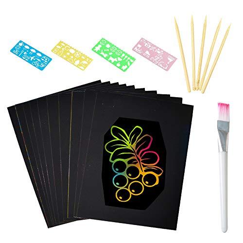 Kratzbilder für Kinder, Kratzbuch Kratzpapier Set Kinder DIY 50 Stück Blätter Regenbogen Kratzpapier für Kreativ Geschenk Zeichnen,mit Schablonen,Bambus Stift (16K)