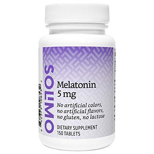 Amazon Brand - Solimo Melatonin 5mg, 150 Tablets, Five Month Supply, Helps with occasional sleeplessness