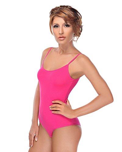 Krisli Spagettiträger Body | Frauen Bodysuit | Farben&Größen | Damen-Body | Ballett Trikot Verschluß-Haken | Unterzieh-Body in optimaler Passform | sportliches Top Shirt |Yoga Tanktop (S, Pink)