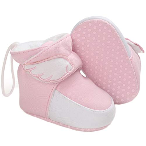 Yvinak Baby Boys Girls Fleece Winter Warm Boots Newborn Infant Winter First Walkers Boots Shoes(12-18 Months,Pink)