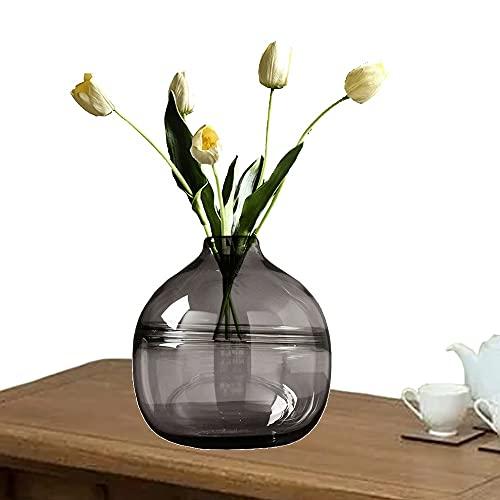 LXLAMP Jarrones Decorativos de Suelo Altos, jarrones Decorativos Modernos Cristal Jarrones de Flores, Elegante Decoración para la Decoración del Escritorio - Altura 20 cm (Color : Gray)