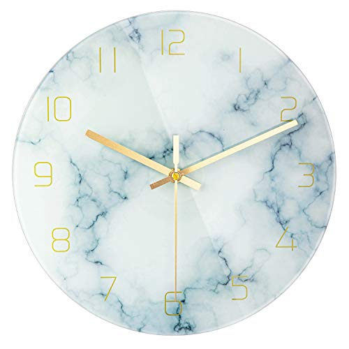 PATGO Glass Marble Silent Wall Clock for Living Room Decor 12 Inch Modern Non Ticking Decorations for Aesthetic Bedroom Office KitchenBattery Operated