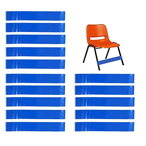 15 Pcs Chair Bands Stretch Foot Band for Elementary, Middle, High School Students and Adults for Classroom Chairs and Desk Feet Band (Blue)
