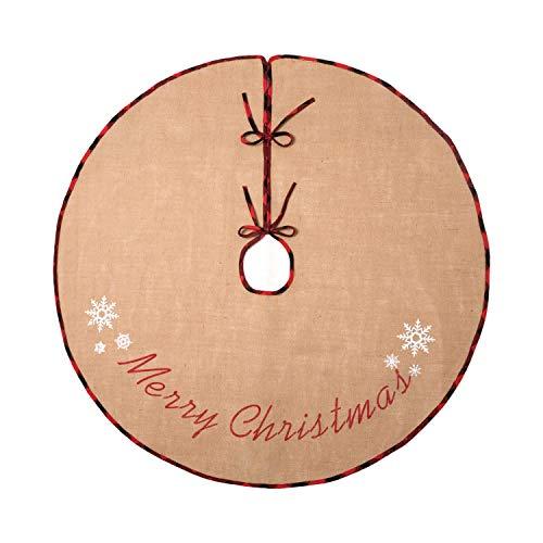 N&T NIETING 120cm Weihnachtsbaum Rock Sackleinen Weihnachtsbaumteppich Ornamente Dekoration für Weihnachten