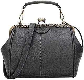 TOOGOO New Retro Handbag Shoulder Bag Clip Handbag Crossbody Bag Zipper & Hasp Tote Bag Women'S Shoulder Bags Wine Red