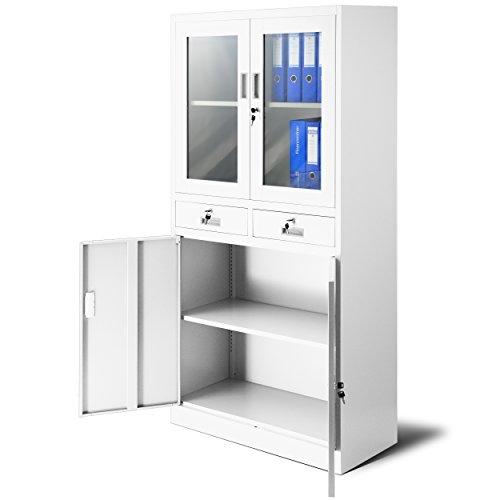 Jan Nowak Aktenschrank C017 mit 2 Schubladen Medizinschrank Büroschrank 2 Abteile Pulverbeschichtung Stahlblech 185 cm x 90 cm x 40 cm (weiß/weiß)
