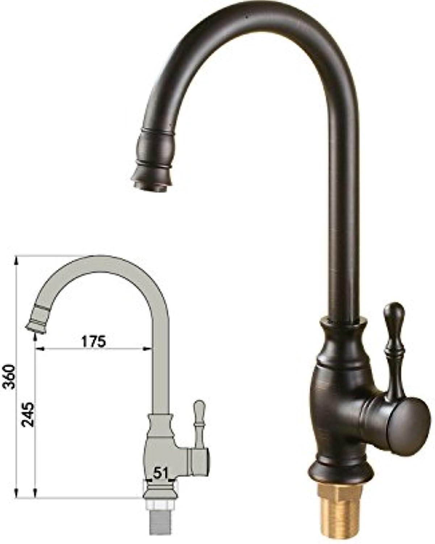ZXYThe kitchen sink faucet tap Black tap copper bronze hot cold European executives Black imitation patina basin faucet