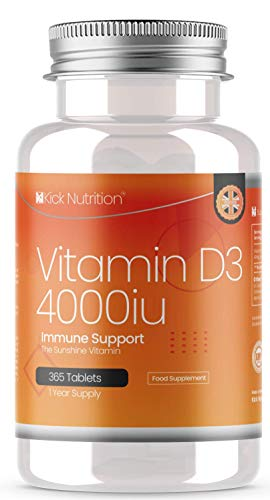 Vitamin D3 4000 IU - Easy to Swallow 365 One Year Supply Micro Vegetarian Tablets | Manufactured in The UK