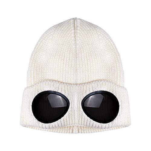 QinMei Zhou Herfst en winter wind spiegel mannen en vrouwen ski-cap plus fluweel warme wollen gebreide muts in Europa en Amerika (Color : White, Size : One size)