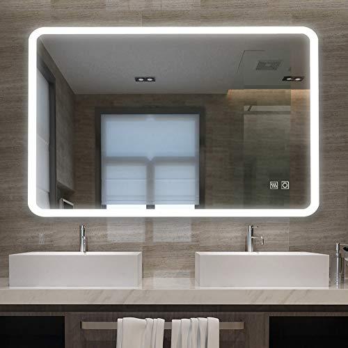 LISA Badspiegel mit Beleuchtung 70 x 100cm LED Rechteckig Lichtspiegel Touchschalter Wandspiegel kaltweiß 6000K IP44 A++