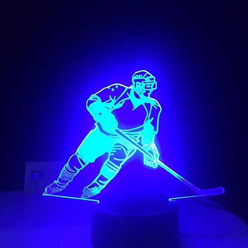 3D Optische Illusions Lampe Eishockey Spieler Phantomlicht 3D Led Schreibtischlampe Usb Visuelle Glühen Kinder Nachtlicht Geschenk Geschenk Baby Schlaf Beleuchtung Sportbekleidung