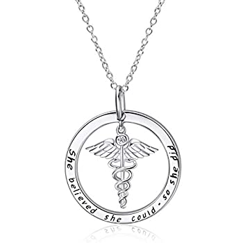 WINNICACA Caduceus Necklace Sterling Silver Nurse Themed Necklace - She Believed She Could So She Did - Nurse Necklace - Doctor Necklace