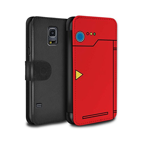 Stuff4 PU-Leder Hülle/Case/Tasche/Cover für Samsung Galaxy S5/SV/Rot Muster/Anime Cartoon Kodex Kollektion