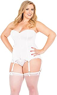 Coquette Women's Plus-Size Front Zip Corset with Lace Back
