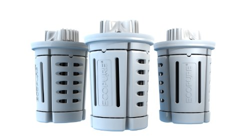 EcoPure EPPRF30 Universal Pitcher Water Filter - Made in USA - Built to Last - 3-Pack