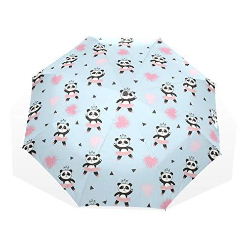 LASINSU Regenschirm,Entzückende Panda Ballerina Kleiderkrone auf Kopf,Faltbar Kompakt Sonnenschirm UV-Schutz Winddicht Regenschirm
