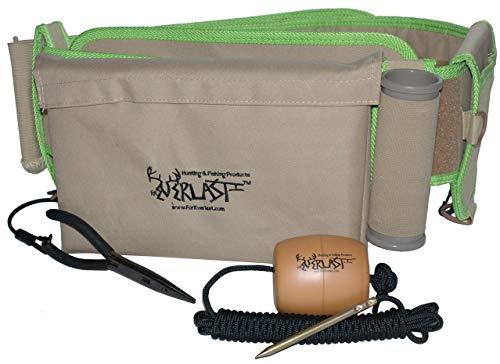 ForEverlast G2 Wading Belt Gear Kit, Universal Fishing Belt for Men & Women, Wade Belt for Fishing includes Fishing Stringer, Pliers, Fishing Rod Holder, Drink Holder, Tan with Green Trim