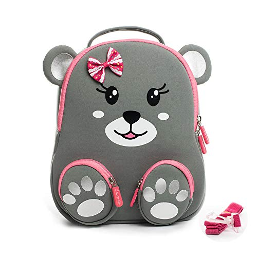 Cocomilo 12' Cartoon 3D Bear Toddler Backpack for Girls Kids Waterproof Preschool Baby Bag for Boys and Girls with Ant-lost Leash (Grey)