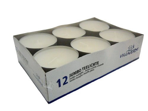 Hillfield® 24 Maxi Teelichter im Alubecher, Weiß, Maxilicht, Jumbo Teelichter, ohne Duft, Kerzen, Teelicht, Aluminiumhülle, Gastronomie Qualität, (2 Packungen á 12 Maxi - Teelichter)
