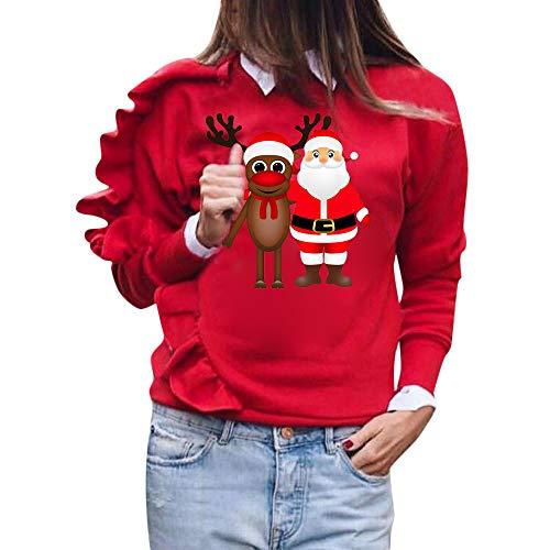 Sudadera Tumblr Mujer Moda Manga Larga Casual Impresión Sudaderas Navidad Otoño Invierno Cuello Redondo Jersey Mujer Primavera Blusa Tops Ropa Mujer Rebajas Suéter Abrigo Deportiva vpass
