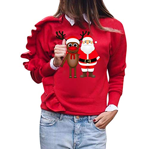 Logobeing Sudaderas Mujer Navidad Ciervos Navideños