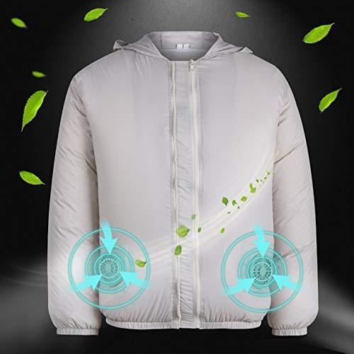 Kühlmantel 2020 Frühling Männer Wandern Jacke Ventilator Kühl Overalls Sicherheit Klimaanlage Hitzebeständige Arbeitskleidung for Outdoor-D20 Kühlweste XXYHYQHJD (Color : Grey White, Size : S M)