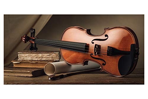 LimeWorks Badetuch, 70x140 cm, Violine auf Holztisch, Made in EU