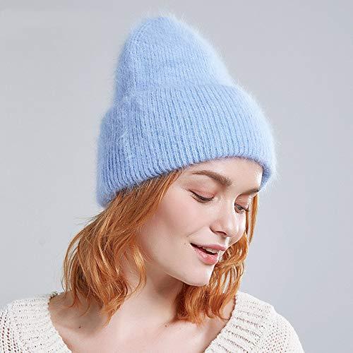 Sombreros de Invierno para Mujer Gorros Femeninos de Pelo Largo y cálido Moda Colores sólidos puño Ancho Gorros de Estilo Joven-20-52-58 CM