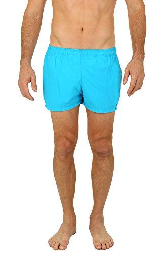 UZZI Men's Basic Swim Shorts Swimwear Trunks NEON Blue (Small)