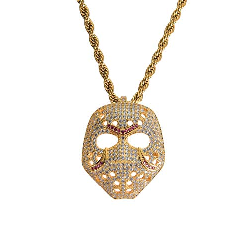 YHQKJ Vintage Mask Pendant, Creative Glamour Mask Simple Atmosphere Without Chain Birthday Gift Fashion Necklace Accessories, Hip Hop Necklace for Mens, Womens (Color : Gold)