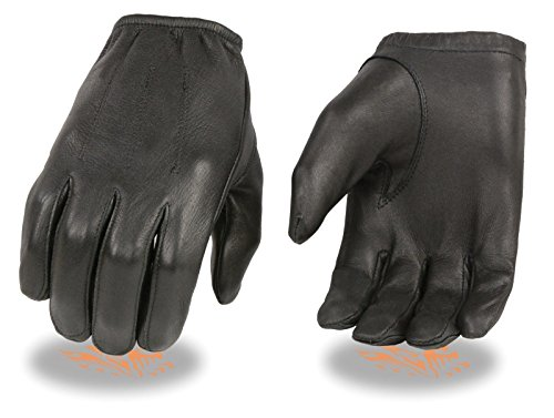 MEN'S POLICE STYLE GLOVES W/CINCH WRIST BLK UNLINED DEERSKIN SOFT LEATHER BLK(XL)