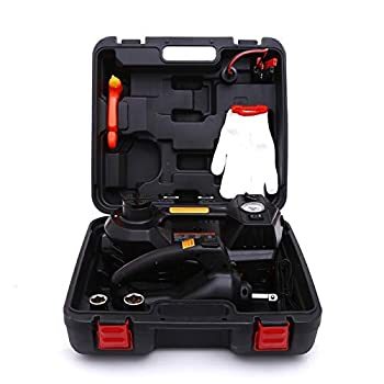 STANDTALL Electric Car Jack Kit 5 Ton 12V Car Jack Hydraulic with Impact Wrench and Tire Inflator Pump Electric Car Floor Jack with LED Light